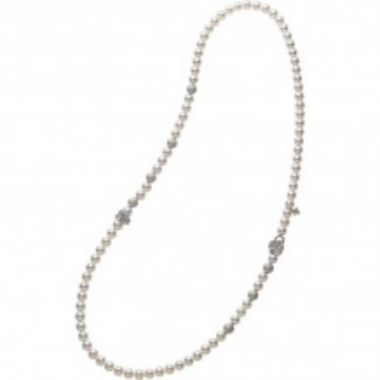 Mikimoto 18k White Gold Fortune Leaves Pearl Necklace